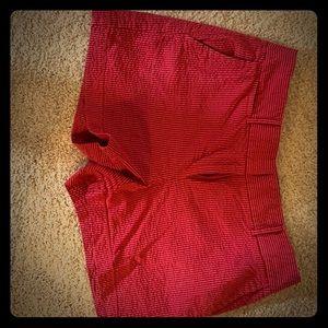 Loft Seersucker Shorts red & blue